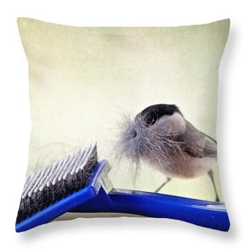 Chickadee At Work Throw Pillow