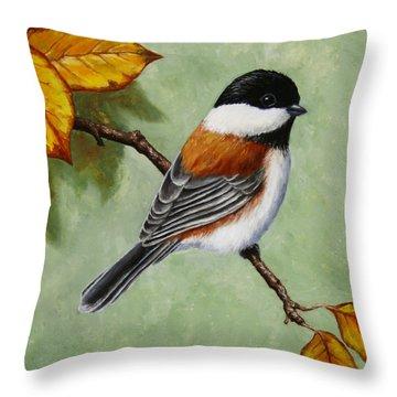 Chickadee - Autumn Charm Throw Pillow