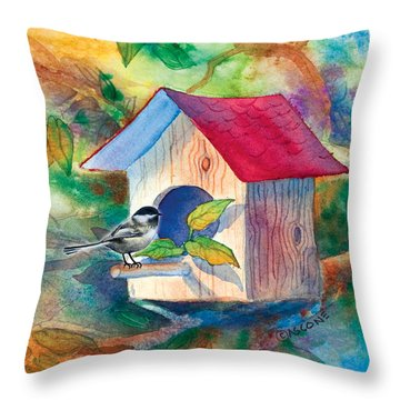 Chickadee Bungalow Throw Pillow