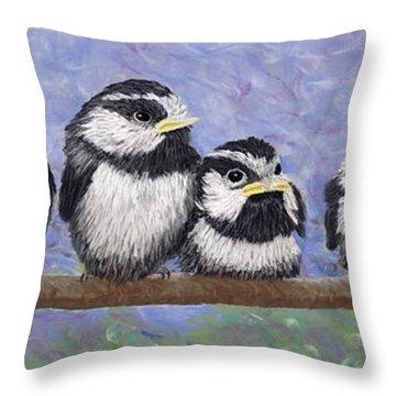 Chickadee Chicks Throw Pillow