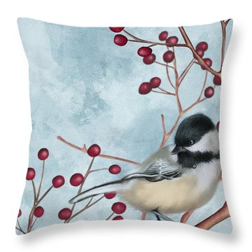 Chickadee I Throw Pillow