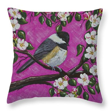 Throw Pillow featuring the painting Chickadee In Apple Blossoms by Jennifer Lake