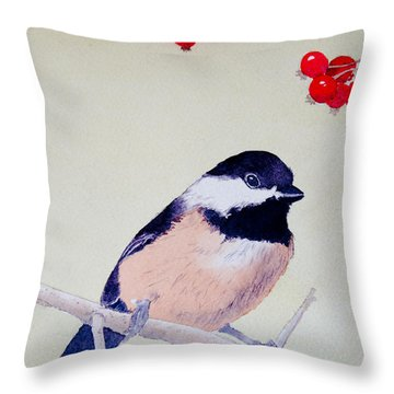 Chickadee Throw Pillow by Laurel Best
