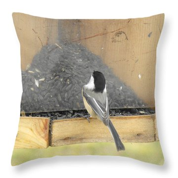 Chickadee Eating Lunch Throw Pillow