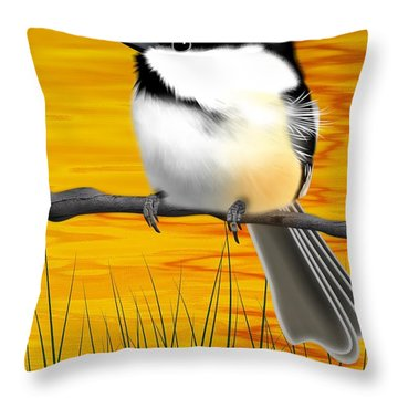 Chickadee On A Branch Throw Pillow