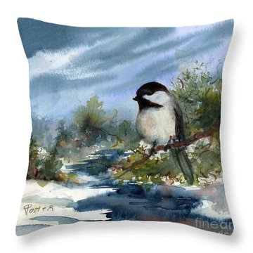 Chickadee On Cedar Throw Pillow
