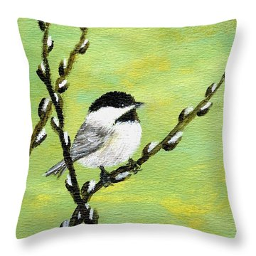 Throw Pillow featuring the painting Chickadee On Pussy Willow - Bird 1 by Kathleen McDermott