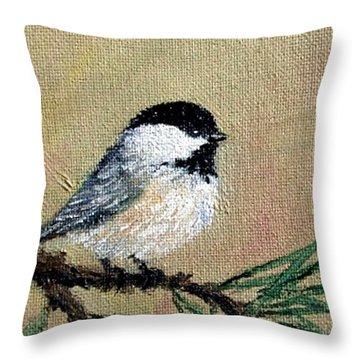 Chickadee Set 17 Bird 1 Detail Print Throw Pillow