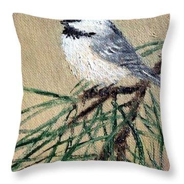 Chickadee Set 17 Bird 2 Detail Print Throw Pillow