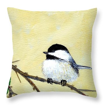 Throw Pillow featuring the painting Chickadee Set 4 - Bird 2 - Red Berries by Kathleen McDermott