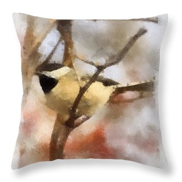 Throw Pillow featuring the painting Chickadee Watercolor by Kerri Farley
