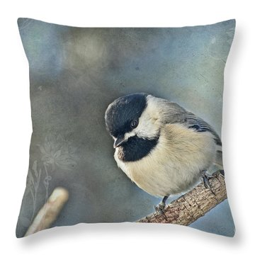 Chickadee With Texture Throw Pillow