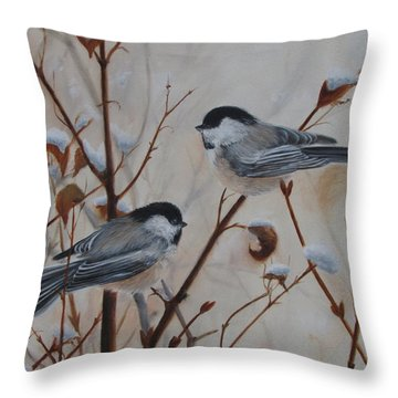 Chickadees Throw Pillow