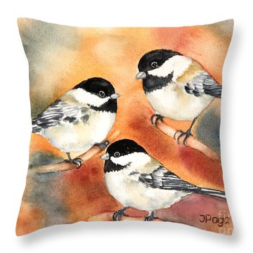 Chickadees Trio Throw Pillow