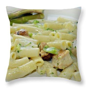 Chicken Alfredo Meal Throw Pillow by Susan Leggett