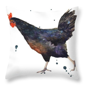 Chicken Chase Throw Pillow by Alison Fennell