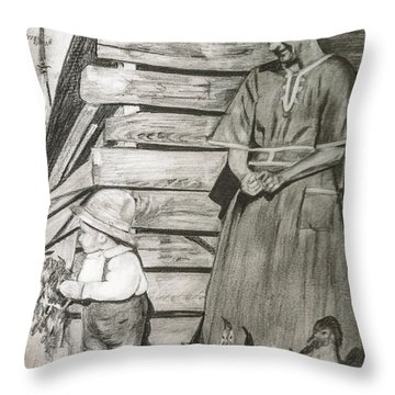 Chicken Coop - Woman And Son - Feeding Chickens Throw Pillow