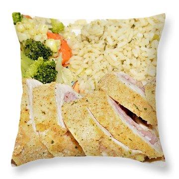 Chicken Cordon Blue  Throw Pillow by Susan Leggett