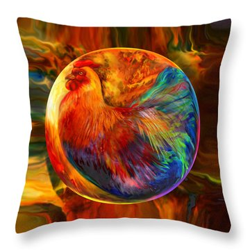 Chicken In The Round Throw Pillow by Robin Moline