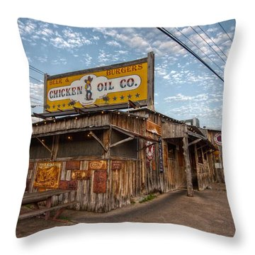 Chicken Oil Company Throw Pillow by Linda Unger