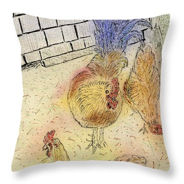 Chickens At Pei Throw Pillow