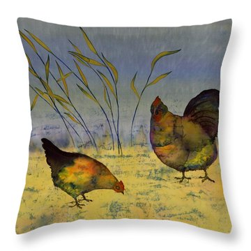 Chickens On Silk Throw Pillow