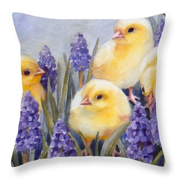 Chicks Among The Hyacinth Throw Pillow