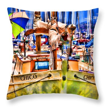 Chico Sail Boat By Diana Sainz Throw Pillow