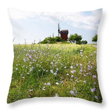 Chicory Flowers Throw Pillow
