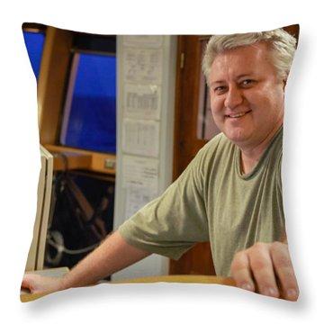 Chief Engineer Oleg On Mv Art Carlson  Throw Pillow