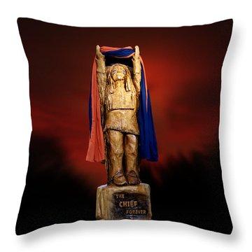 Chief Illiniwek University Of Illinois 06 Throw Pillow by Thomas Woolworth
