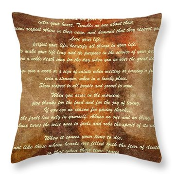 Chief Tecumseh Poem Throw Pillow by Dan Sproul