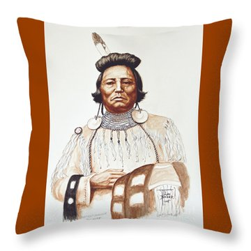Chief Wolf Necklace Throw Pillow