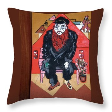 Throw Pillow featuring the painting Chigall By Nora by Nora Shepley