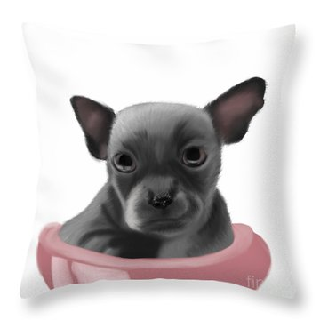 Chihauhau In A Bowl Throw Pillow