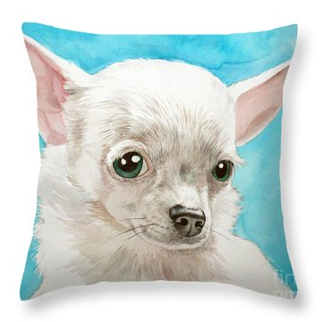 Chihuahua Dog White Throw Pillow