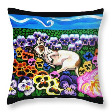 Chihuahua In Flowers Throw Pillow