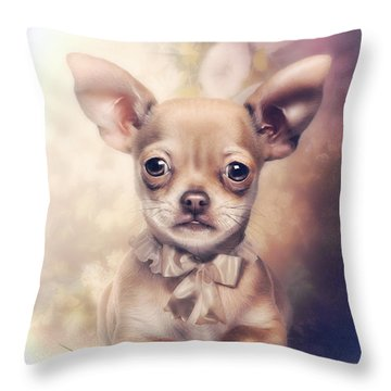 Chihuahua Puppy Throw Pillow by Cindy Grundsten