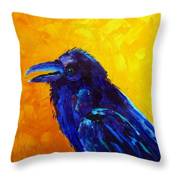 Chihuahuan Raven Throw Pillow by Susan Woodward