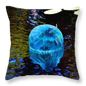 Artsy Blue Glass Float Throw Pillow by Luther Fine Art