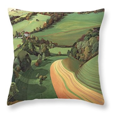 Chilcombe Bottom, Bath Oil On Canvas Throw Pillow