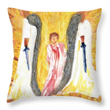 Child Being Escorted Into Heaven Throw Pillow