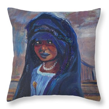 Throw Pillow featuring the painting Child Bride Of The Sahara by Avonelle Kelsey