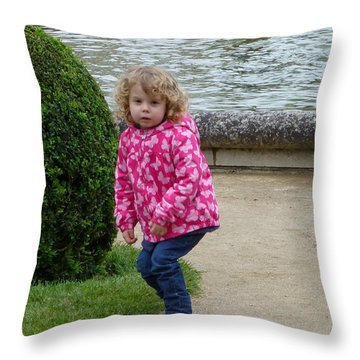 Child In Catherines Garden Throw Pillow by Susan Alvaro