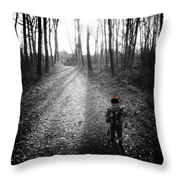 Child In Forest Throw Pillow by Hans Engbers