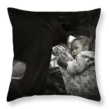 Child  On A Journey Throw Pillow by Tom Bell