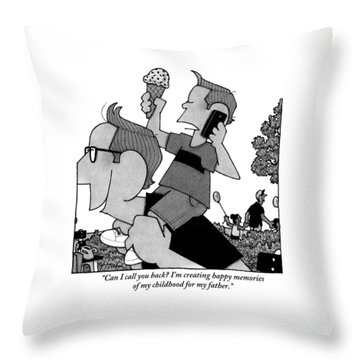 Child On Father's Shoulders Throw Pillow