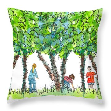 Child Play Throw Pillow by Kathleen McElwaine
