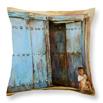 Throw Pillow featuring the painting Child Sitting In Old Zanzibar Doorway by Sher Nasser
