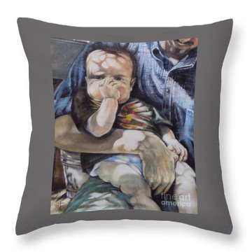 Child Under A Shade Of An Olive Tree Throw Pillow by Alessandra Andrisani